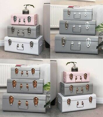 Set of Three Metal Storage Boxes with Chrome Copper Handles Grey White Pink