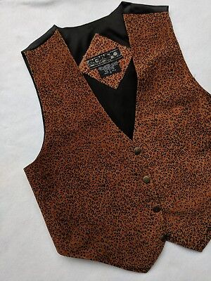 Vtg Agapo Leopard Brown Black Western Leather Vest Oklahoma Buttons Mens Medium