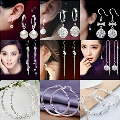 Womens Earrings Drop Hoop Round Dangle 925 Silver Plated Multi Crystal Hook UK