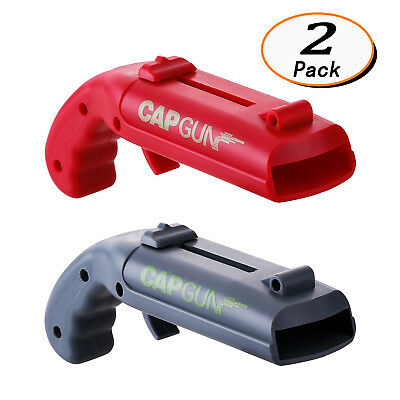 2 Pack Cap Gun Bottle Opener Beer Bottle Opener Launcher Shooter, 2 Colors