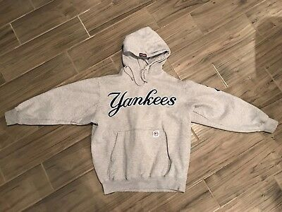 newest a12ff 2023e STITCHES NEW YORK Yankees hoodie sweatshirt gray blue letters S