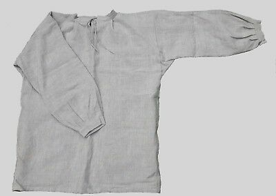 "17th-18th Century Tie Collar Shirt - Unbleached/Oatmeal Linen - Up to 42"" Chest"