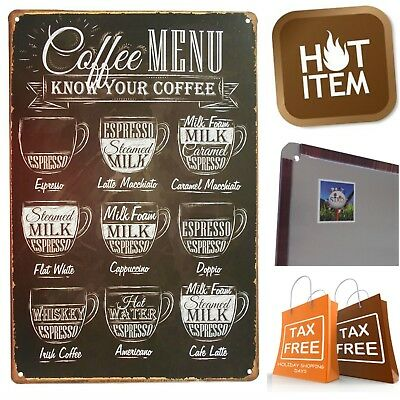 "Retro Vintage Tin Sign Coffee Menu 9x12"" Wall Decor Metal Art Poster Bar Plaque"