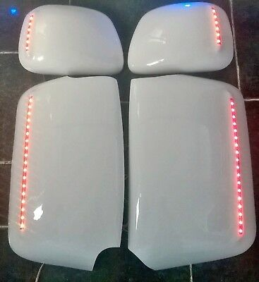 SCANIA LEDS Mirror Covers Guards! All Colours + Logos FREE! ANY Colour LEDS! Uk