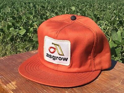 Vintage ASGROW SEED CO Snapback Trucker Hat Patch Made In The USA