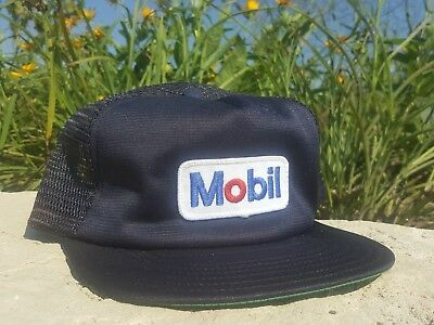Vintage MOBIL Mesh Snapback Trucker Hat Patch UNITOG Made In USA