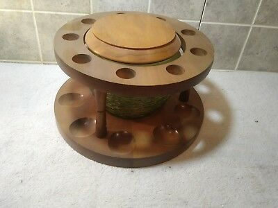 Vintage Fairfax Wooden Pipe Stand Holder with Green Glass Tobacco Jar Humidor