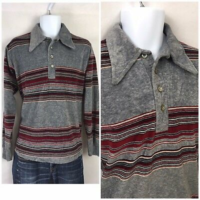 Vintage 70s CAMPUS Velour Pullover Shirt Polo Striped Surf Retro Hipster USA M