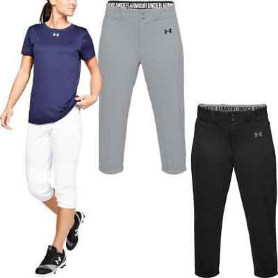 Under Armour Cropped Womens Softball Fastpitch Pants White Black or Gray 1317043