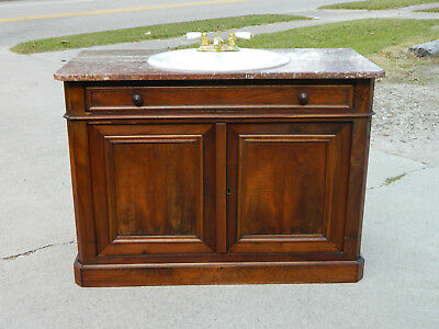 Walnut Victorian Buffet with Sink Conversion~~Brown Marble