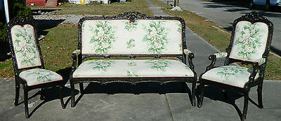 Black Forest Style Late 1800's Parlor Set Settee Sofa Arm Chair Side Chair
