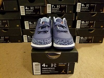 0263341a614b JORDAN RETRO 3 GT DARK PURPLE DUST ATOMIC PINK  BLUEcap WHITE SIZE 4 654964