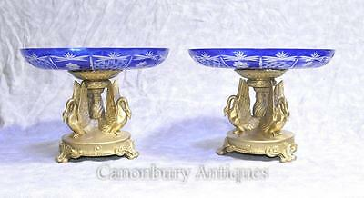 Pair French Cut Glass Dishes - Ormolu Empire Swan Comports Signed Milo