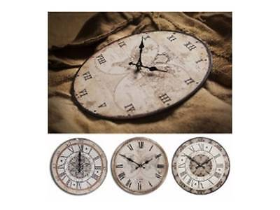 NEW Antique Roman Wall Clock World Map Travel 34cm Christmas Gift Battery Round