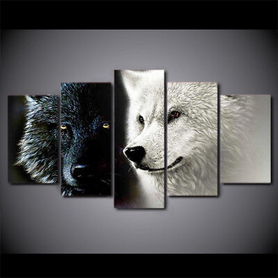 5 Pcs Home Decor Canvas Print Painting Wall Art Snow Mountain Plateau Wolf Wolv