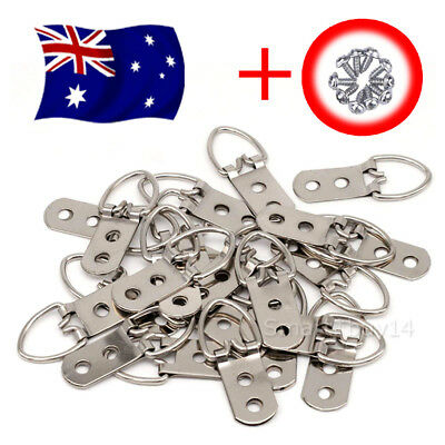 50X Heavy Duty D-Ring Painting Picture Frame Hanger Hanging Hooks + Screw OZ