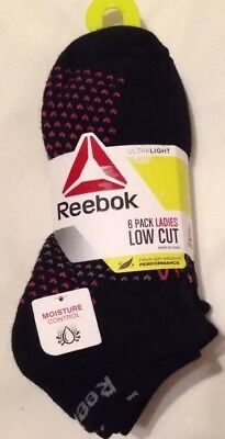 Reebok Women's Low Cut Socks 9-11, Pack Of 6, Feather Weight Performance, NWT