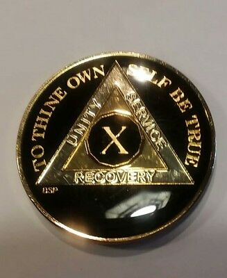 """10 Year AA Coin BLACK Enamel, Gold, Silver 1⅜"""" Traditional Size Recovery X Ten"""