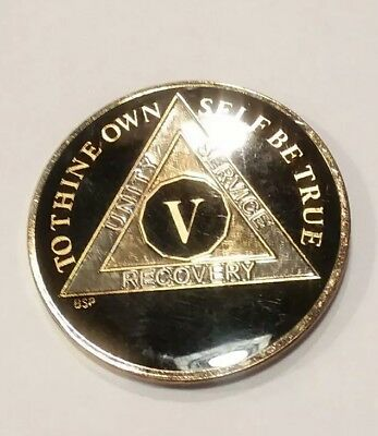 "Gold Silver 1⅜/"" Traditional Size Recovery XXVI 26 Year AA Coin BLACK Enamel"