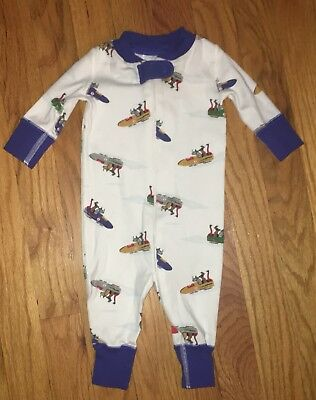 Baby Boys Hanna Andersson Bobsled Animals Sleeper Romper Pajamas 50 0-6  Months 3b6c33e23