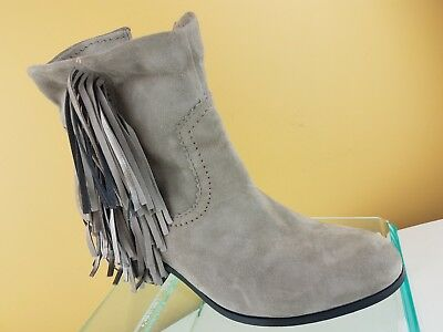 e1f67de3d Sam Edelman Louie Fringe Gray Suede Leather Stacked Heel Ankle Booties  Womens 9