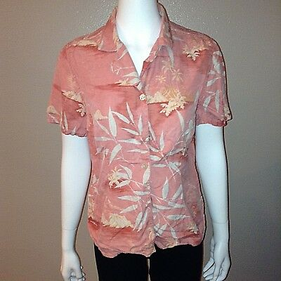 def3d4076f3701 Tommy Bahama Shirt Size M Medium Womens Button Down Blouse Pink 100% Silk  Top
