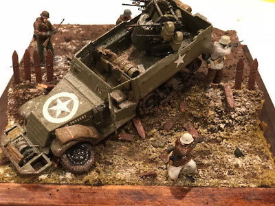 1/35 SCALE US Halftrack German Infantry figures diorama built painted tamiya