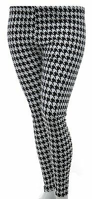 Brand New Leggings Houndstooth Dogtooth Black & White Stretch Girls Womens*LICK*