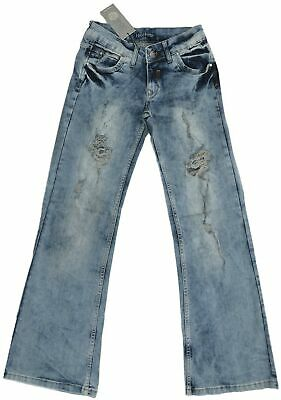 "Girls Ladies 6-12 New Distressed Dirty Blue Wash Denim Jeans 31"" 32"" Leg Bnwt"