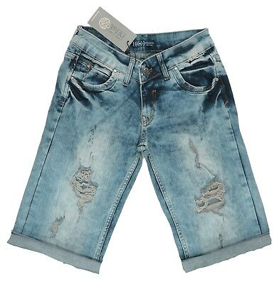 Girls Ladies 6-12 New Distressed Dirty Wash Denim Knee Length Shorts Jean Bnwt