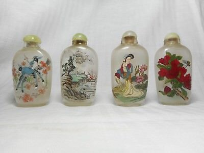 Four Chinese Glass Hand Inside Painted Snuff Bottles