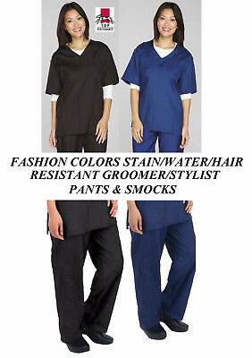 NYLON PANTS&SMOCKS GROOMER Barber STYLIST Hair,Water&Stain Resistant Trouser Top
