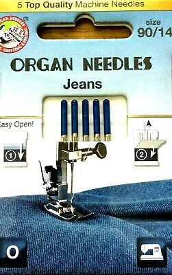 Organ 5 Top Quality Jeans Needle Size 90/14 Domestic Sewing Machine Needle
