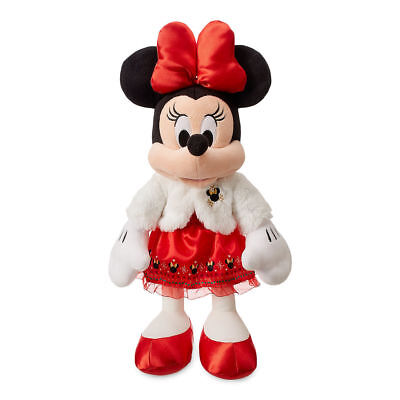 "New Disney Store Minnie Mouse Holiday Plush Toy Doll 17""H  2018"