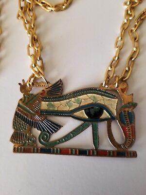 Vintage Egyptian Necklace Eye of Horus Gold Jewelry