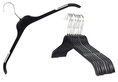 Plastic Black Notch On Top Hangers Tops T-shirt Dresses Lot Small & Large