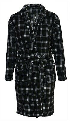 New Soft Fleece Black White Check Dressing Gown Grey Bath Robe Pockets Men Gents
