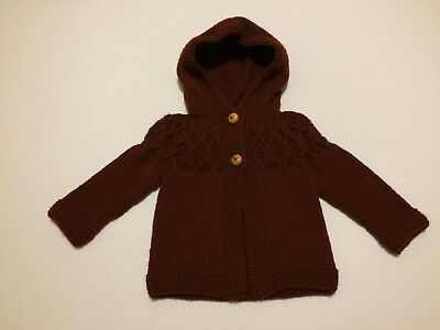 Handmade Knitted Jumper with Hood - Baby Girl - 6-9 months - Chocolate Brown