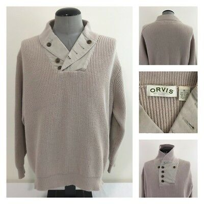 Orvis Mens XL WWII Mechanics Sweater Shawl Collar Elbow Patch Cotton Pullover