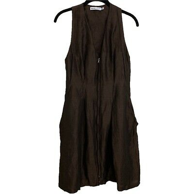 9a97ae5b2cb See By Chloe SZ 6 Zip Up Pockets Sleeveless Solid Brown Linen Knee Length  Dress