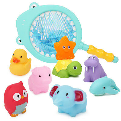 Cute Baby Bath Toys Cute Soft Rubber Float Squeeze Sound Sets Animals Play Toys