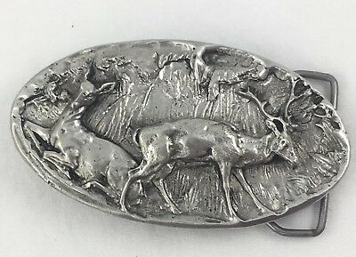 Vintage 1975 Belt Buckle DEER Adezy Colorado B-132 Pewter Tone Doe Buck Stag