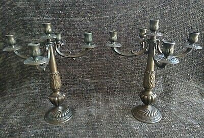 Vintage pair of beautiful ornate Italian cast brass 5 candel candelabras 13.5""