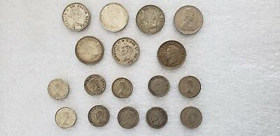 Canadian Silver Coin Lot Ungraded 7 Quarters 1939/44/56/56/62/65/68 + 10 Dimes