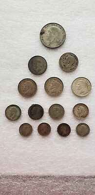 England Silver Coin Lot Ungraded.14 Total Coins.1929Half Crown 1923Shilling Etc.