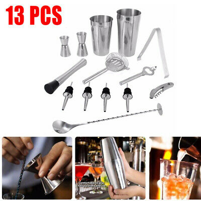 13Pcs Stainless Steel Cocktail Shaker Mixer Drink Bartender Martini Tool Bar Kit