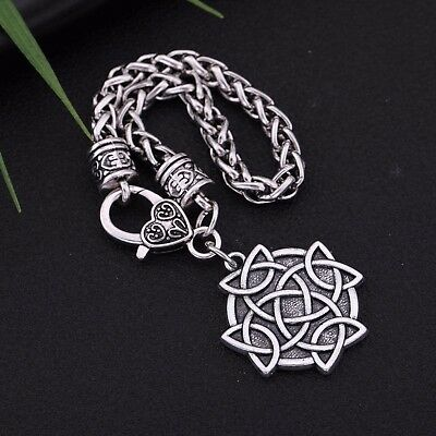 Gothic Punk Ancient Norse Viking Celtic Cross Knot Triquetra Charm Bracelet Gift