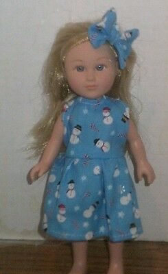 "6/6.5"" Doll Clothes-fit Mini American Girl My Life-Dress & Bow-Snowmen   Blue"