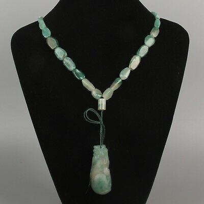 Chinese Exquisite Hand carved natural Dushan jade brave troops pendant necklace