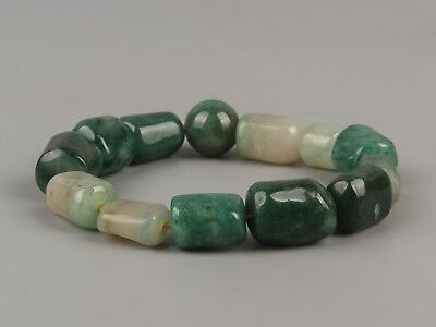 Chinese Exquisite Hand carved natural Dushan jade (独山玉) beads Bracelet